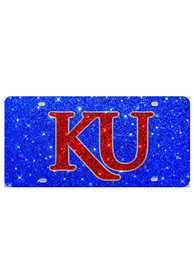 Kansas Jayhawks Red KU Glitter Car Accessory License Plate