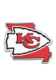 Kansas City Chiefs State Shaped Car Emblem - Red