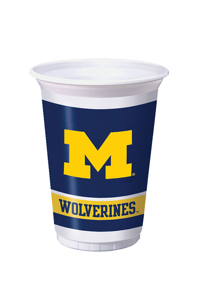 Michigan Wolverines 8 Pack Disposable Cups, Blue, PLASTIC