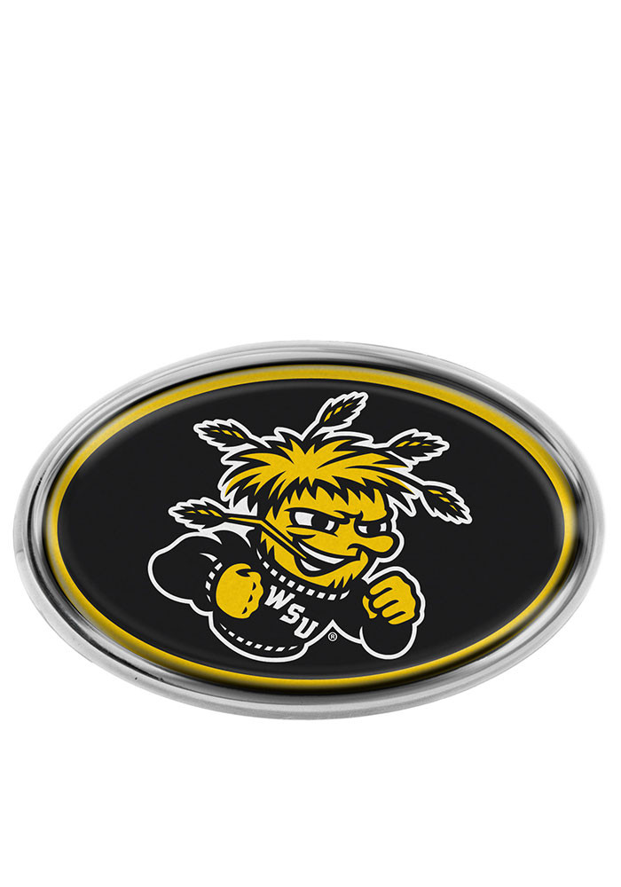 Wichita State Shockers Black Domed Oval Car Accessory Car Emblem - Image 1