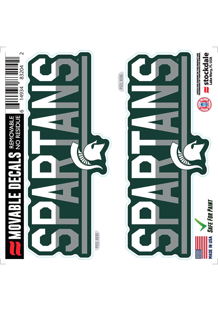 Michigan State Spartans 2 Pk 6x6 Team Color DuoTone Auto Decal - Green - Image 1