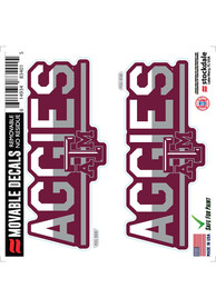 Texas A&M Aggies 2 Pk 6x6 Team Color DuoTone Auto Decal - White