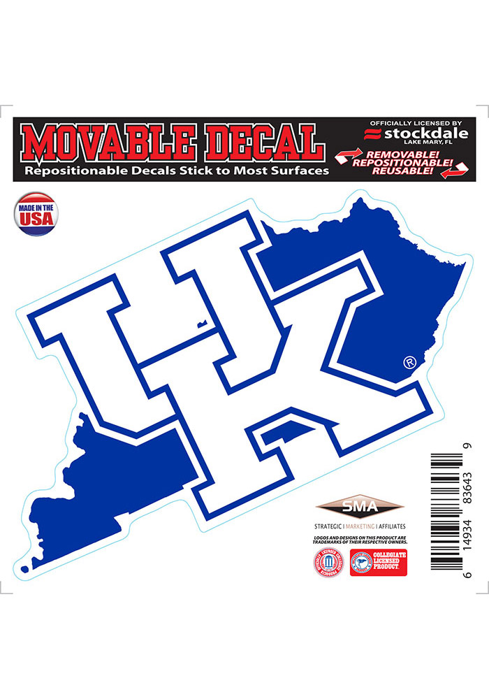 Kentucky Wildcats State Shape Team Color Auto Decal - Blue - Image 1