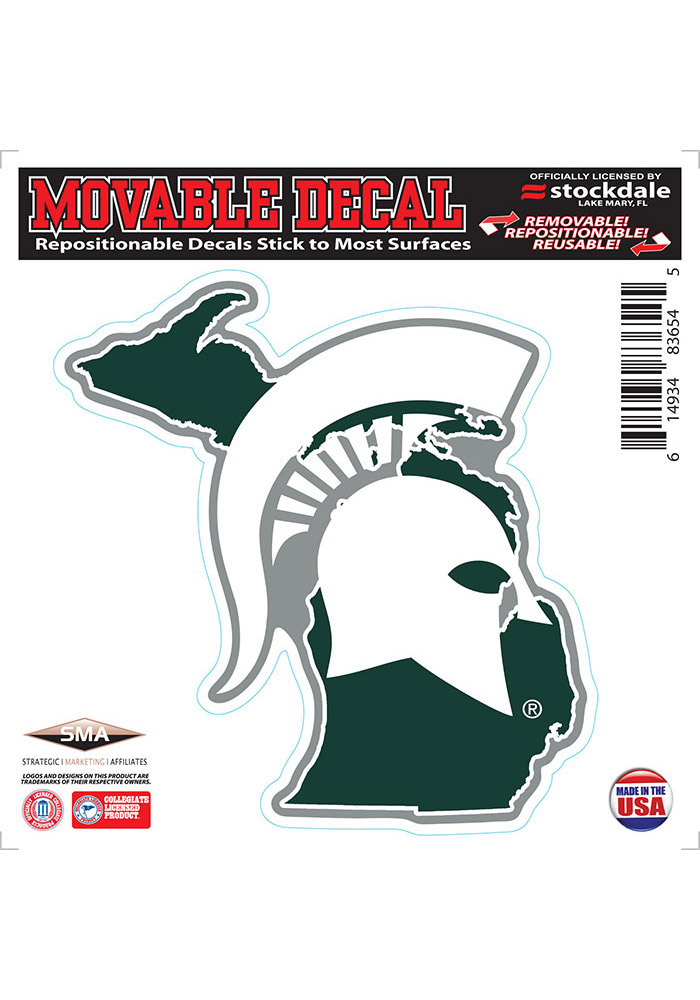Michigan State Spartans State Shape Team Color Auto Decal - Green - Image 1