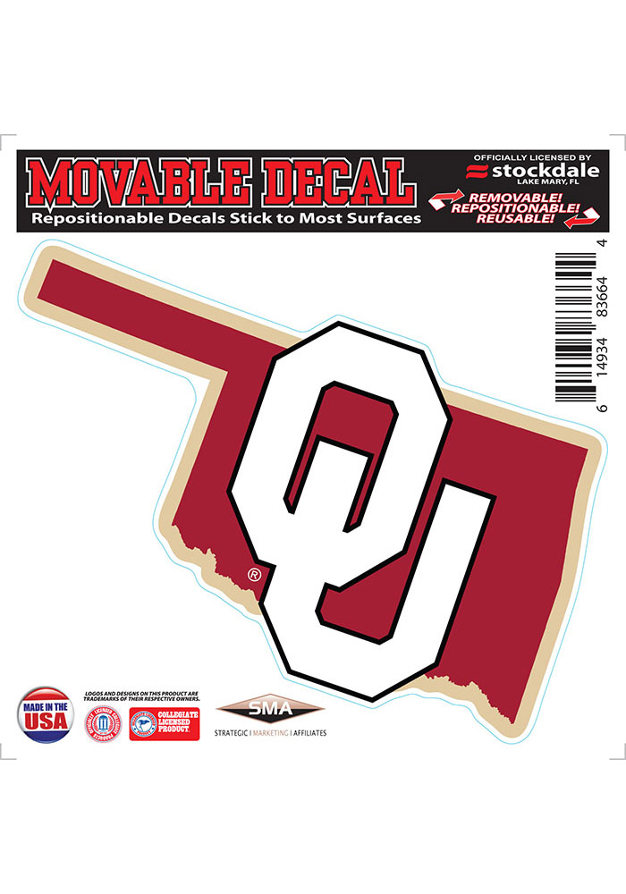 Oklahoma Sooners State Shape Team Color Auto Decal - White