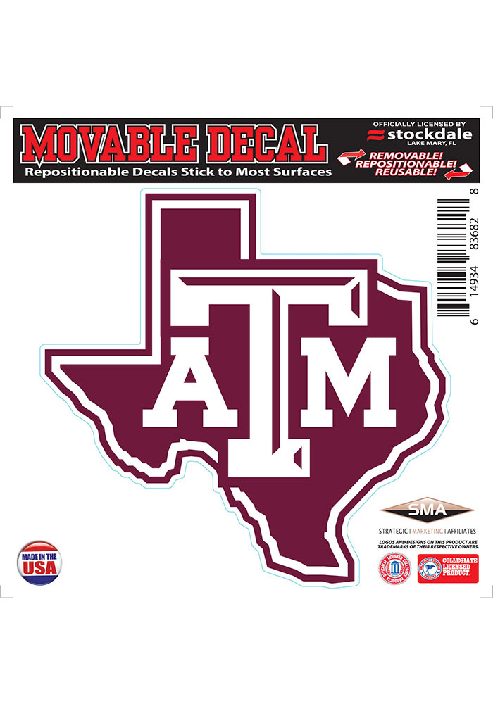 Texas A&M Aggies State Shape Team Color Auto Decal - White - Image 1