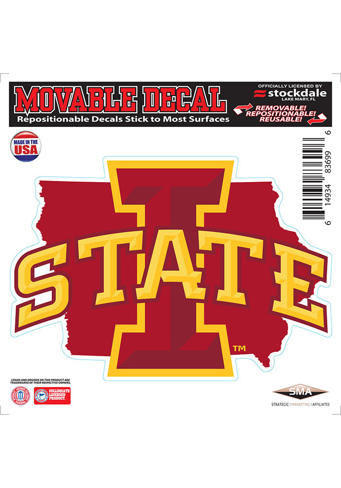 Iowa State Cyclones State Shape Team Color Auto Decal - Cardinal - Image 1