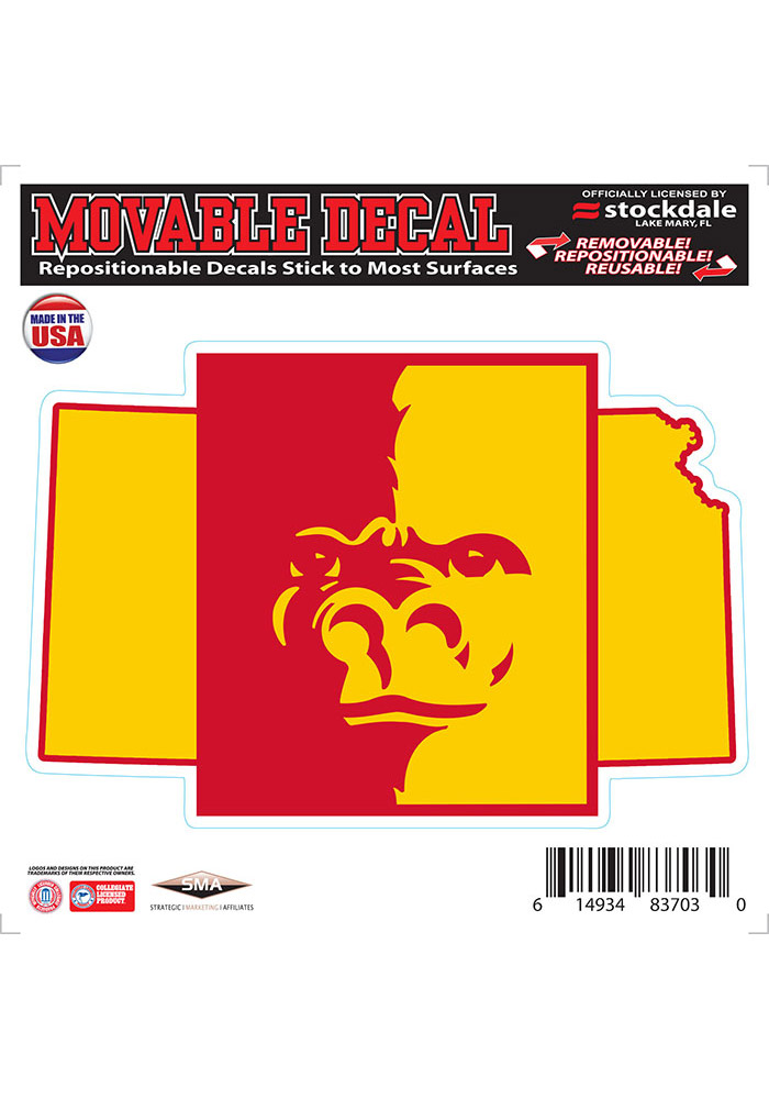 Pitt State Gorillas State Shape Team Color Auto Decal - Red