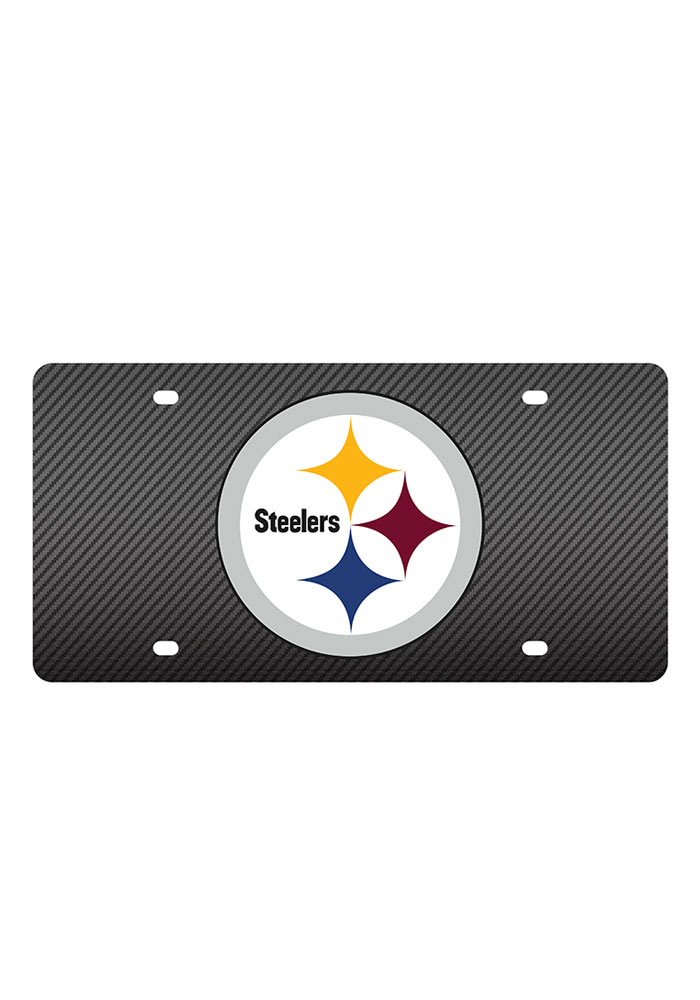 Pittsburgh Steelers Carbon Fiber Team Logo Car Accessory License Plate - Image 1