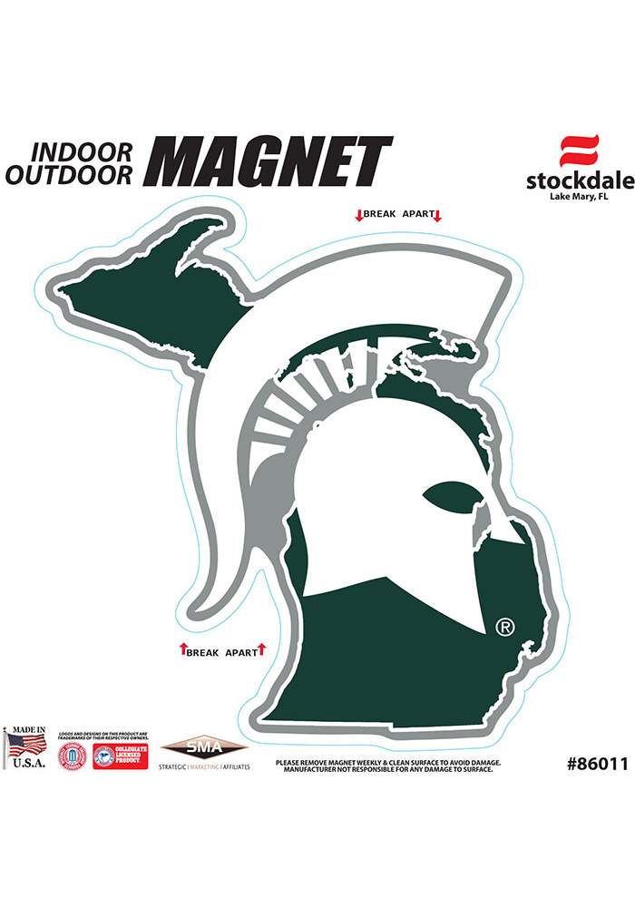 Michigan State Spartans State Shape Team Color Car Magnet - Green - Image 1
