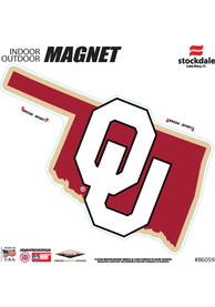 Oklahoma Sooners State Shape Team Color Car Magnet - White