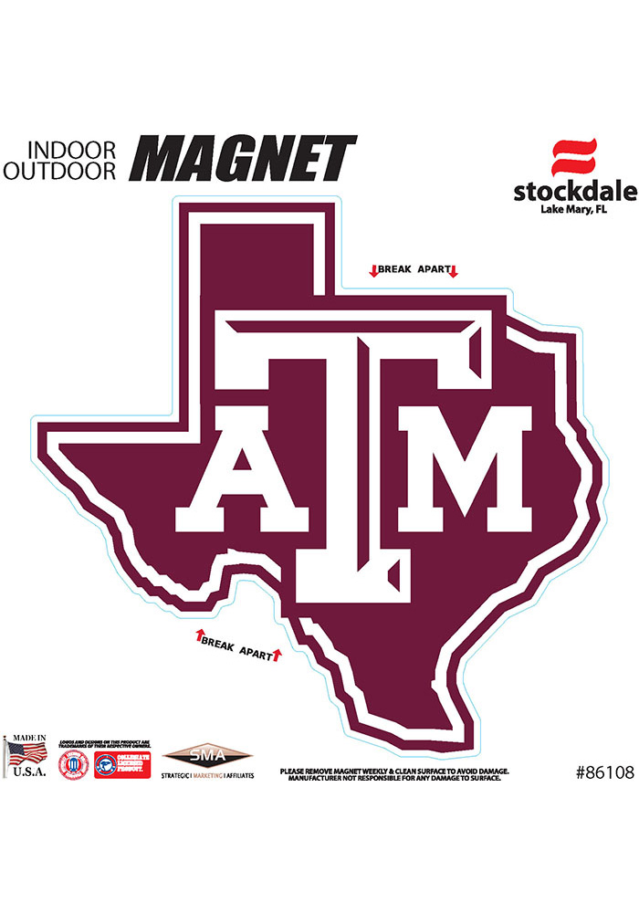 Texas A&M Aggies State Shape Team Color Car Magnet - White - Image 1
