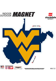 West Virginia Mountaineers State Shape Team Color Car Magnet - Navy Blue