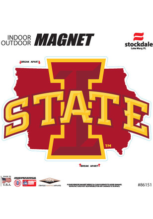 Iowa State Cyclones State Shape Team Color Car Accessory Car Magnet
