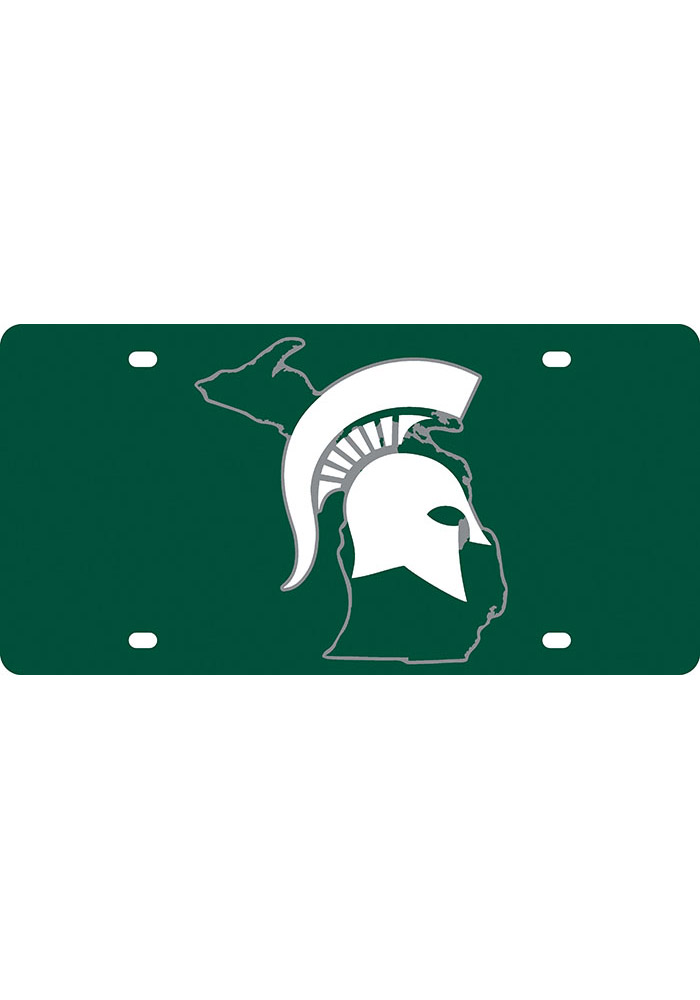 Michigan State Spartans State Shape Team Color Car Accessory License Plate