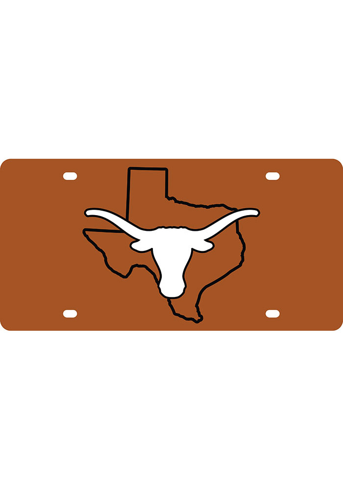 Texas Longhorns State Shape Team Color Car Accessory License Plate - Image 1
