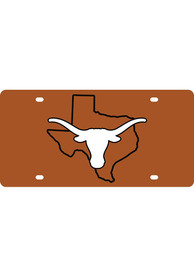 Texas Longhorns State Shape Team Color Car Accessory License Plate