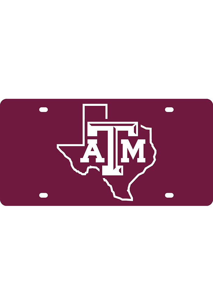 Texas A&M Aggies State Shape Team Color Car Accessory License Plate - Image 1