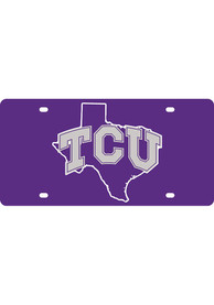 TCU Horned Frogs State Shape Team Color Car Accessory License Plate