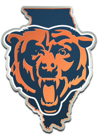 Chicago Bears Metallic State Shape Car Emblem - Navy Blue