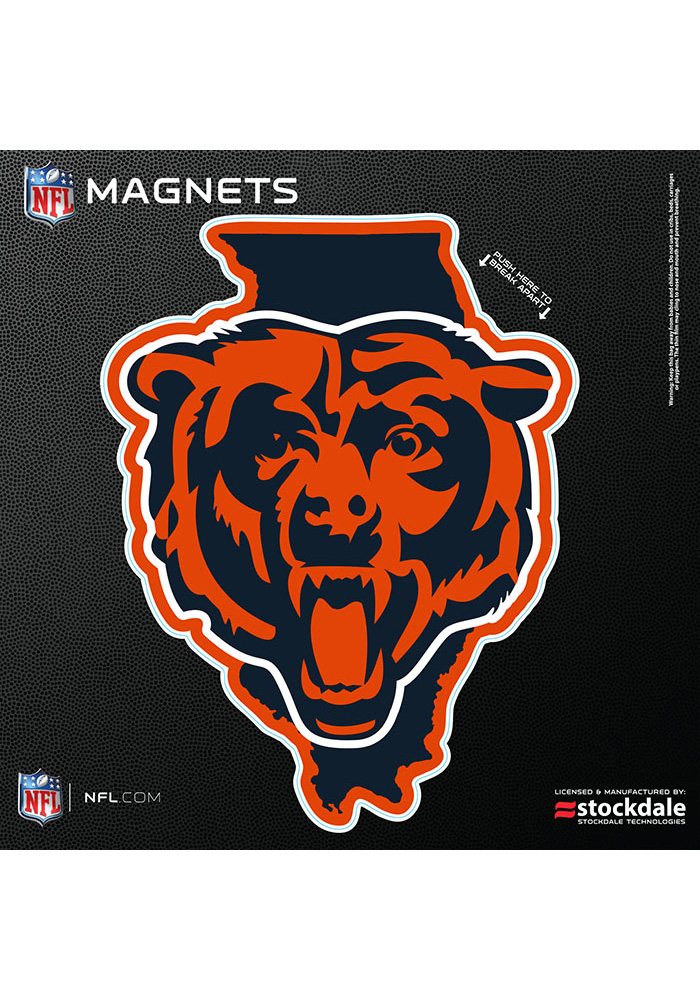Chicago Bears 6x6 State Shape Logo Car Magnet - Navy Blue - Image 1