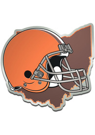 Cleveland Browns Metallic State Shape Car Emblem - Orange