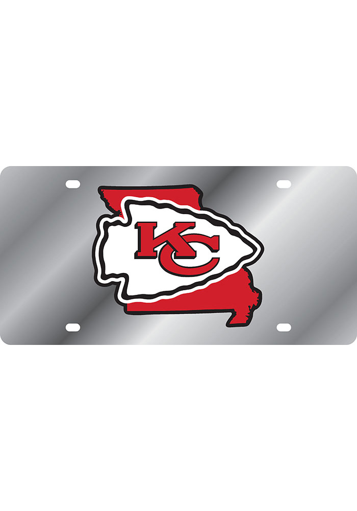 Kansas City Chiefs Mirror Background State Shape Car Accessory License Plate - Image 1