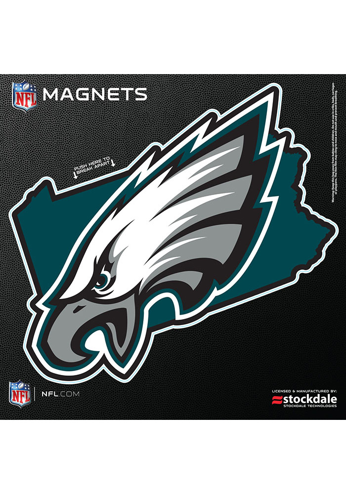 Philadelphia Eagles 6x6 State Shape Logo Car Magnet - Midnight Green - Image 1