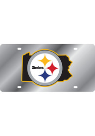 Pittsburgh Steelers Mirror Background State Shape Car Accessory License Plate
