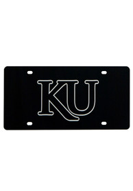 Kansas Jayhawks Silver KU Black Car Accessory License Plate