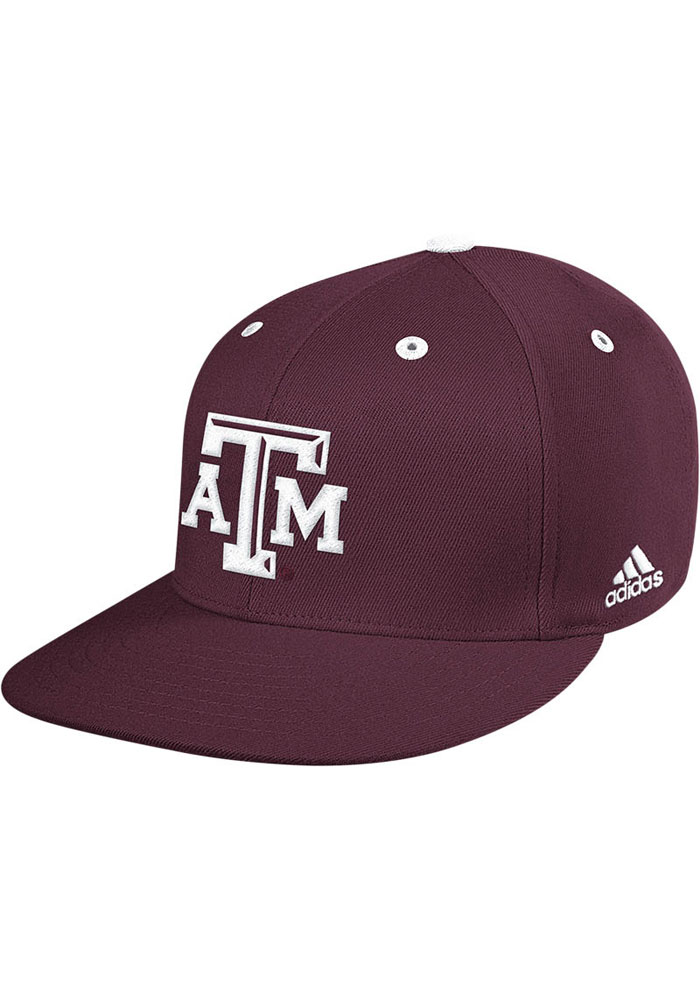 Adidas Texas A&M Aggies Mens Maroon On Field Baseball Fitted Hat - Image 1