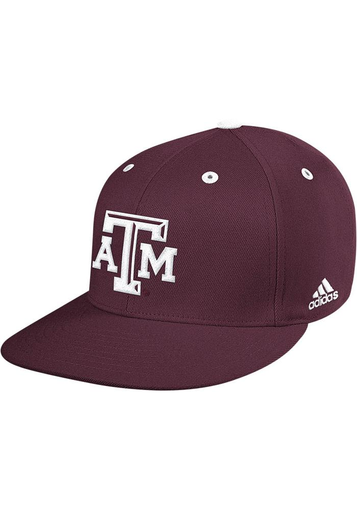 Adidas Texas A&M Aggies Mens Maroon On Field Baseball Fitted Hat - Image 2