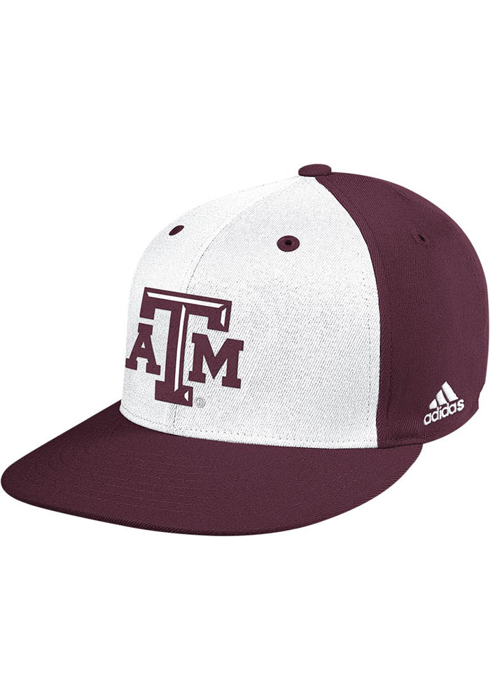 be0a5dd9034 Adidas Texas A M Aggies Mens White On Field Baseball Fitted Hat - Image 1