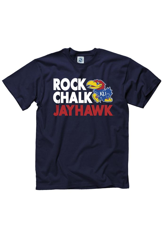 Kansas Jayhawks Navy Blue Fight Strong Short Sleeve T Shirt - Image 1