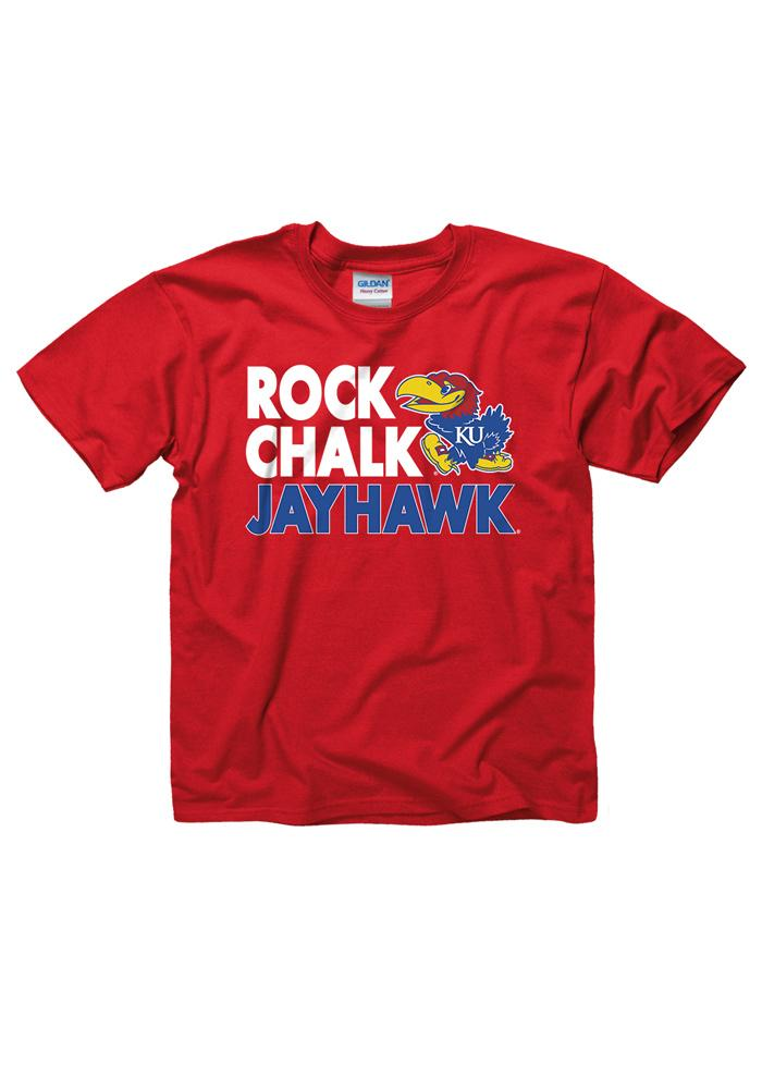 Kansas Jayhawks Youth Red Fight Strong T-Shirt