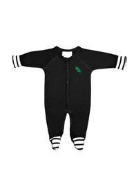 North Texas Mean Green Baby Stripe Footed Black Stripe Footed One Piece Pajamas