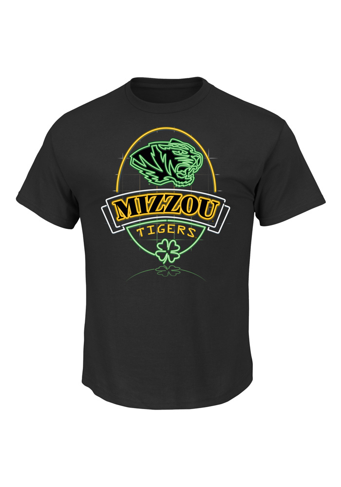 Majestic Missouri Tigers Mens Black Decked Out In Luck Short Sleeve T Shirt - Image 1