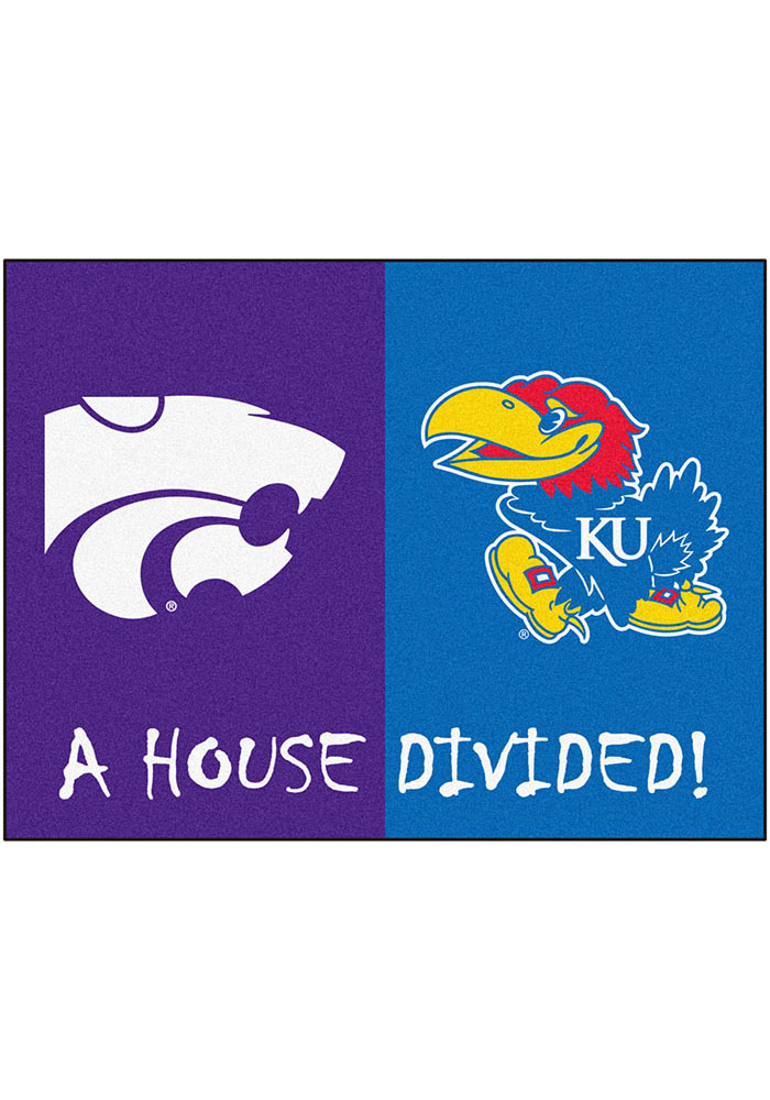 K-State Wildcats and Kansas Jayhawks 34x44.5 All Star House Divided Interior Rug - Image 1