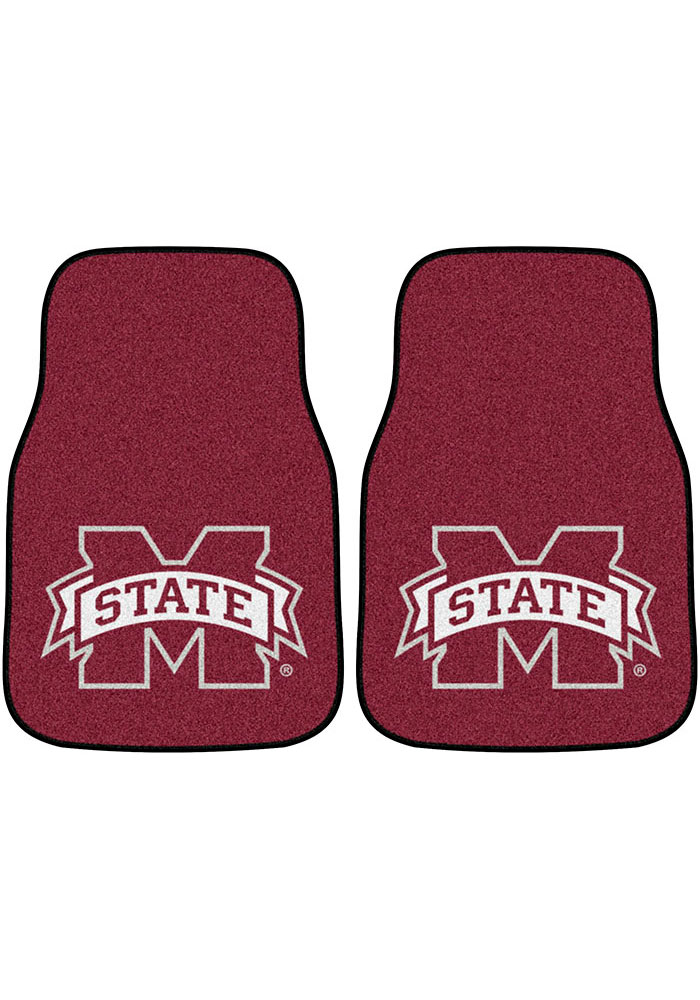 Sports Licensing Solutions Mississippi State Bulldogs 2-Piece Carpet Car Mat - Image 1