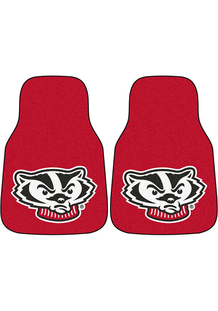 Sports Licensing Solutions Wisconsin Badgers 2-Piece Carpet Car Mat - Red - Image 1