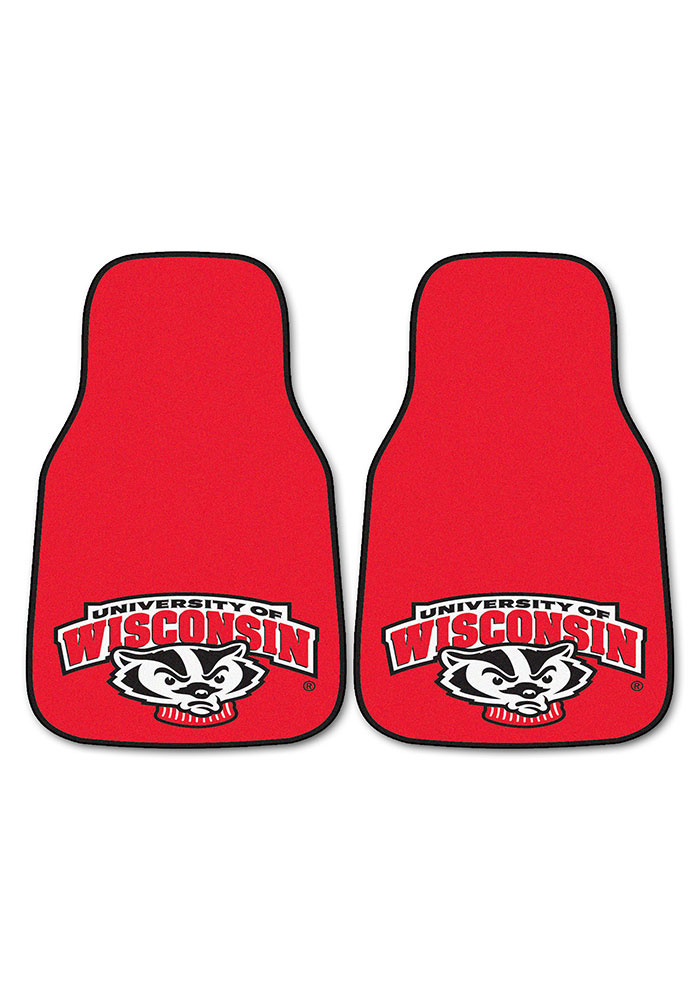 Sports Licensing Solutions Wisconsin Badgers 2-Piece Carpet Car Mat - Red - Image 2