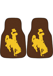 Sports Licensing Solutions Wyoming Cowboys 2-Piece Carpet Car Mat - Brown