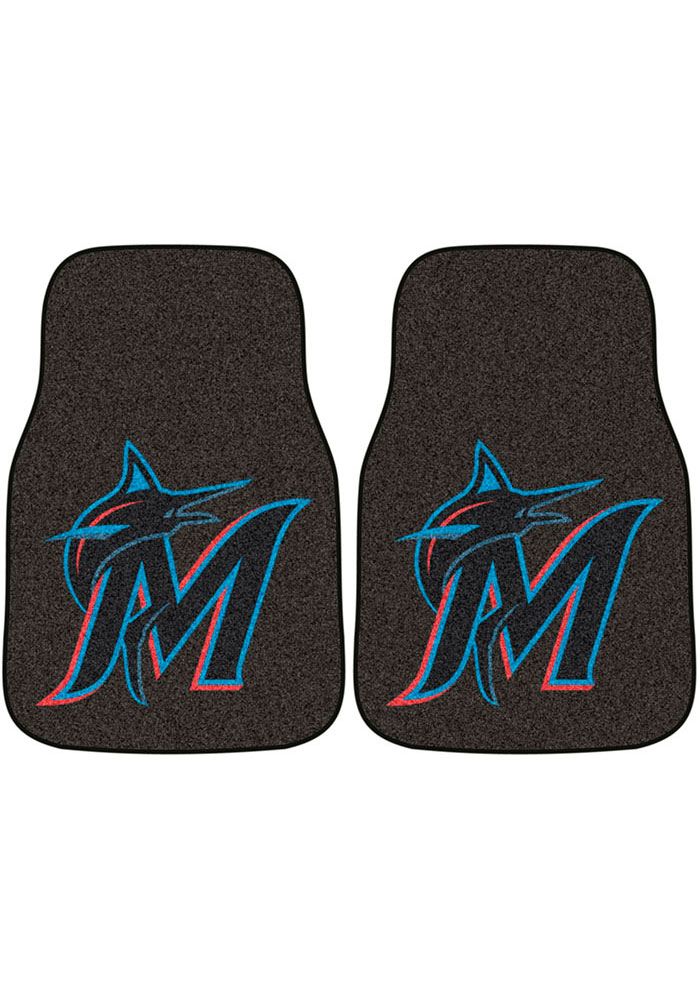 Sports Licensing Solutions Miami Marlins 2-Piece Carpet Car Mat - Black - Image 1