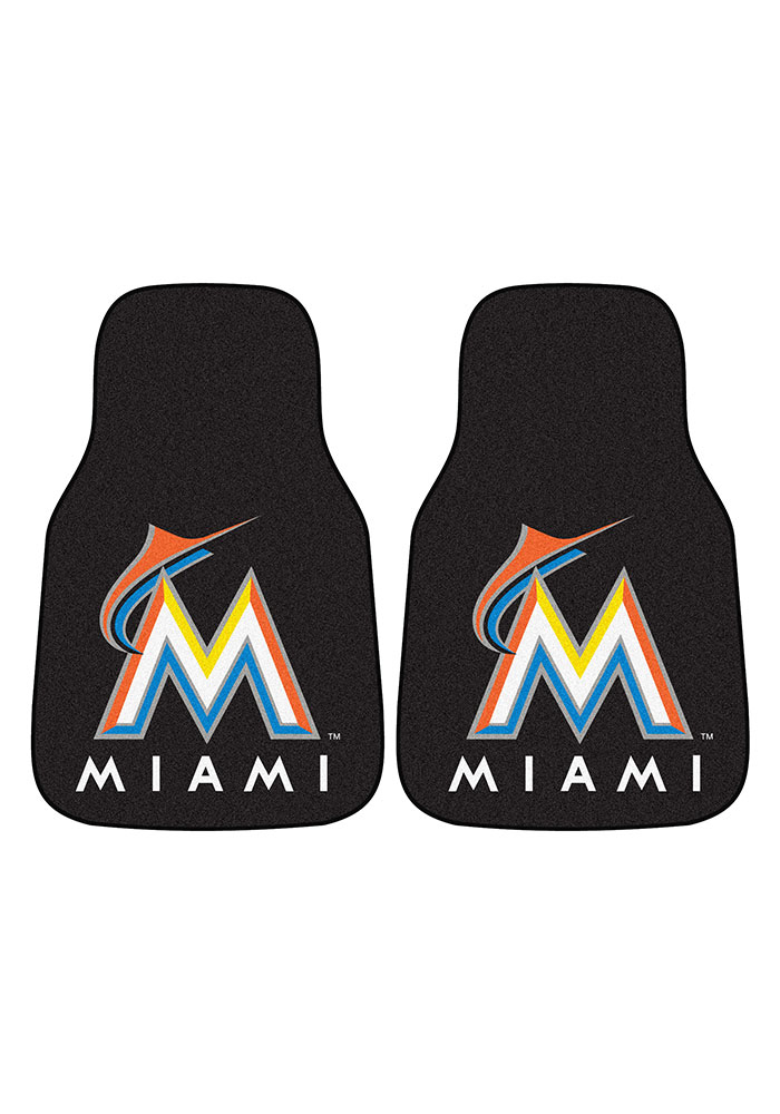 Sports Licensing Solutions Miami Marlins 2-Piece Carpet Car Mat - Black - Image 2