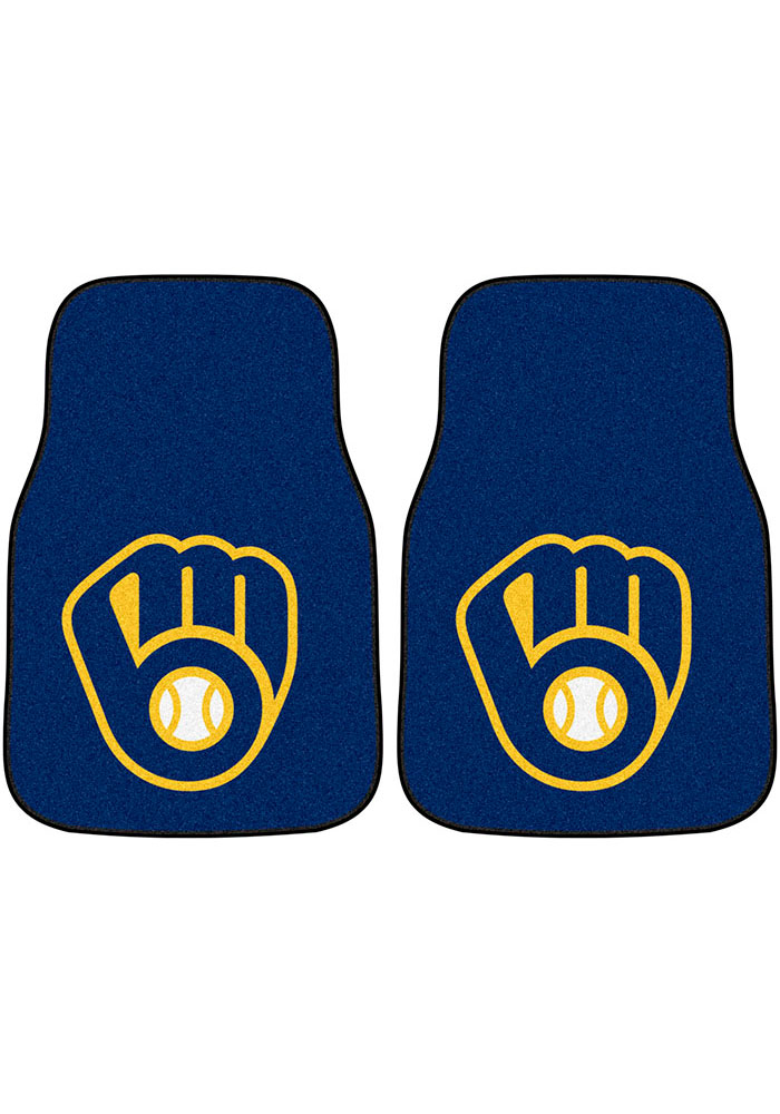 Sports Licensing Solutions Milwaukee Brewers 2-Piece Carpet Car Mat - Blue - Image 1