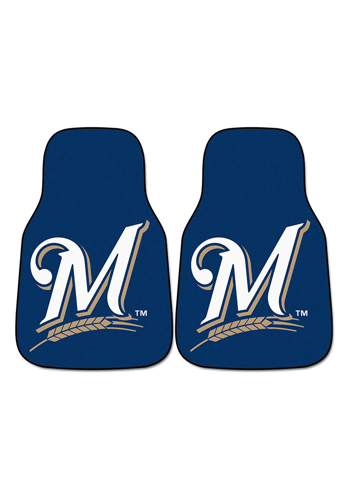 Sports Licensing Solutions Milwaukee Brewers 2-Piece Carpet Car Mat - Blue - Image 2