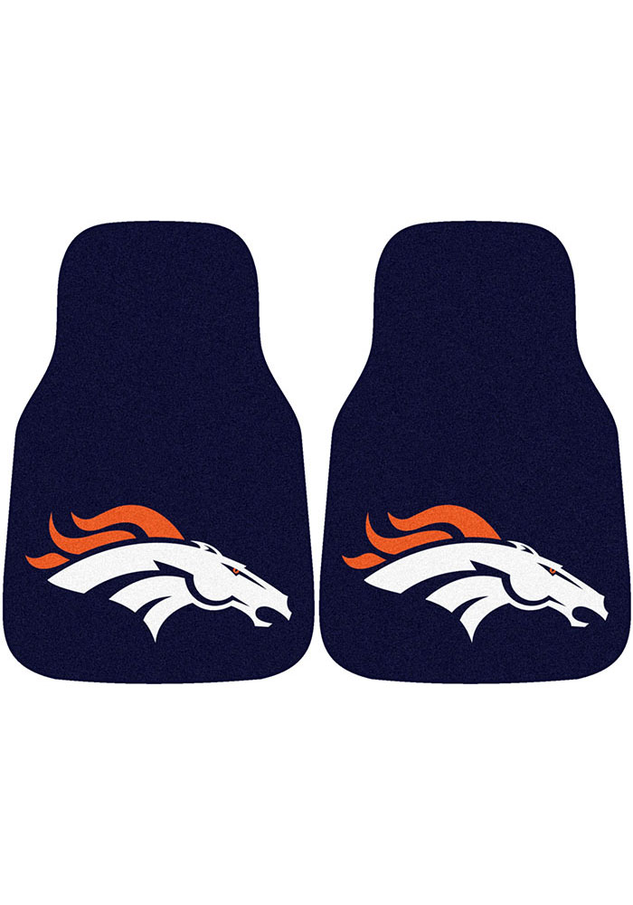 Sports Licensing Solutions Denver Broncos 2-Piece Carpet Car Mat - Navy Blue - Image 1