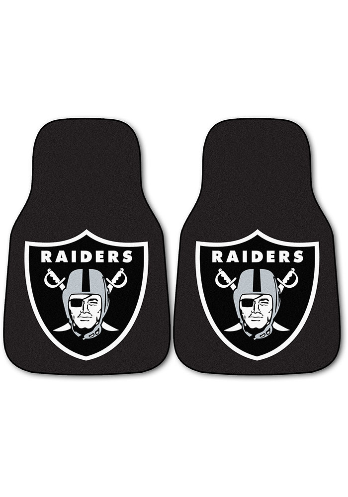 Sports Licensing Solutions Oakland Raiders 2-Piece Carpet Car Mat - Black - Image 1