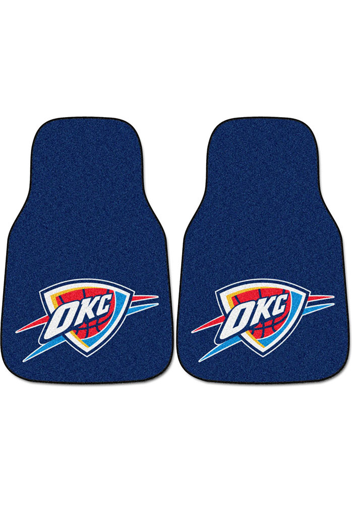 Sports Licensing Solutions Oklahoma City Thunder 2-Piece Carpet Car Mat - Navy Blue - Image 1