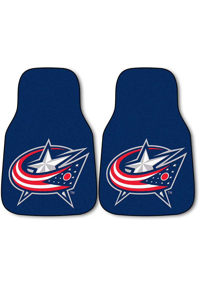 Sports Licensing Solutions Columbus Blue Jackets 2-Piece Carpet Car Mat - Navy Blue - Image 1
